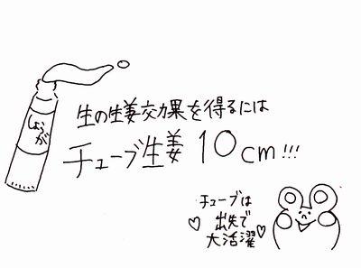 「生」の生姜10g≒「チューブ」の生姜は10cm!